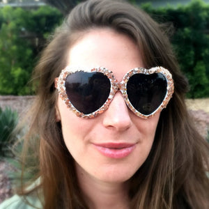 Rose Gold Glitter Heart Sunglasses