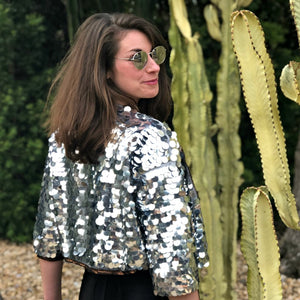 Silver Sequin Crop Jacket