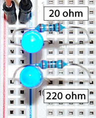 Breadboard circuit with two illuminated LEDs
