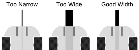 Image depicting lines that are too wide, too narrow, and correct width for a line following robot