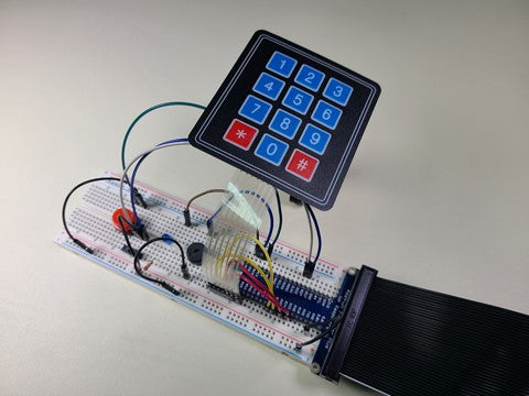 Breadboard circuit with keypad attached
