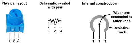 Diagram showing specific potentiometer included in kit