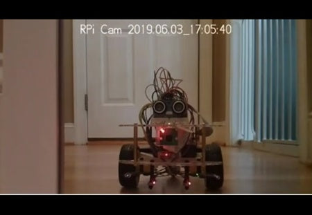 View from Raspberry Pi camera mounted to robot