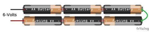 Six AA Batteries Connected in Series