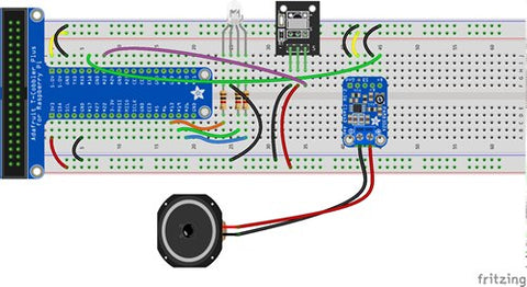 Diagram of breadboard circuit with amplifier and speaker