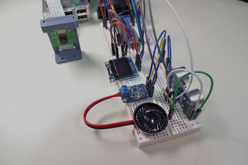 Raspberry Pi Breadboard Circuit Including Amplifier, Speaker, OLED Screen, and Camera Controlled by Python Code