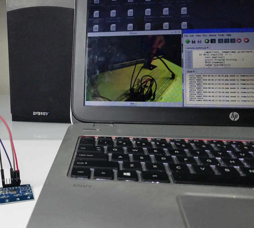 Laptop screen with Raspberry Pi camera image displayed