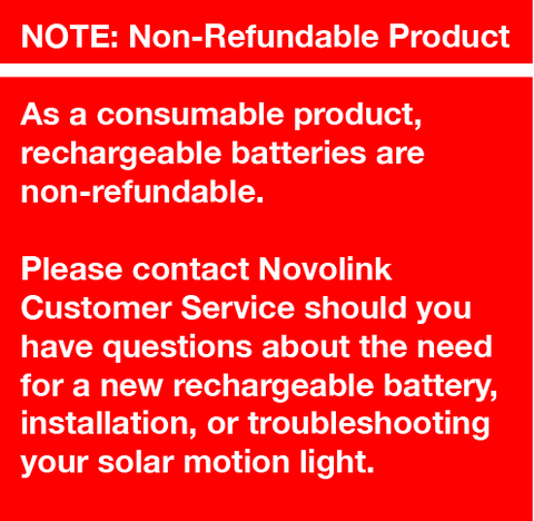 Note: Non-Refundable Rechargeable Battery