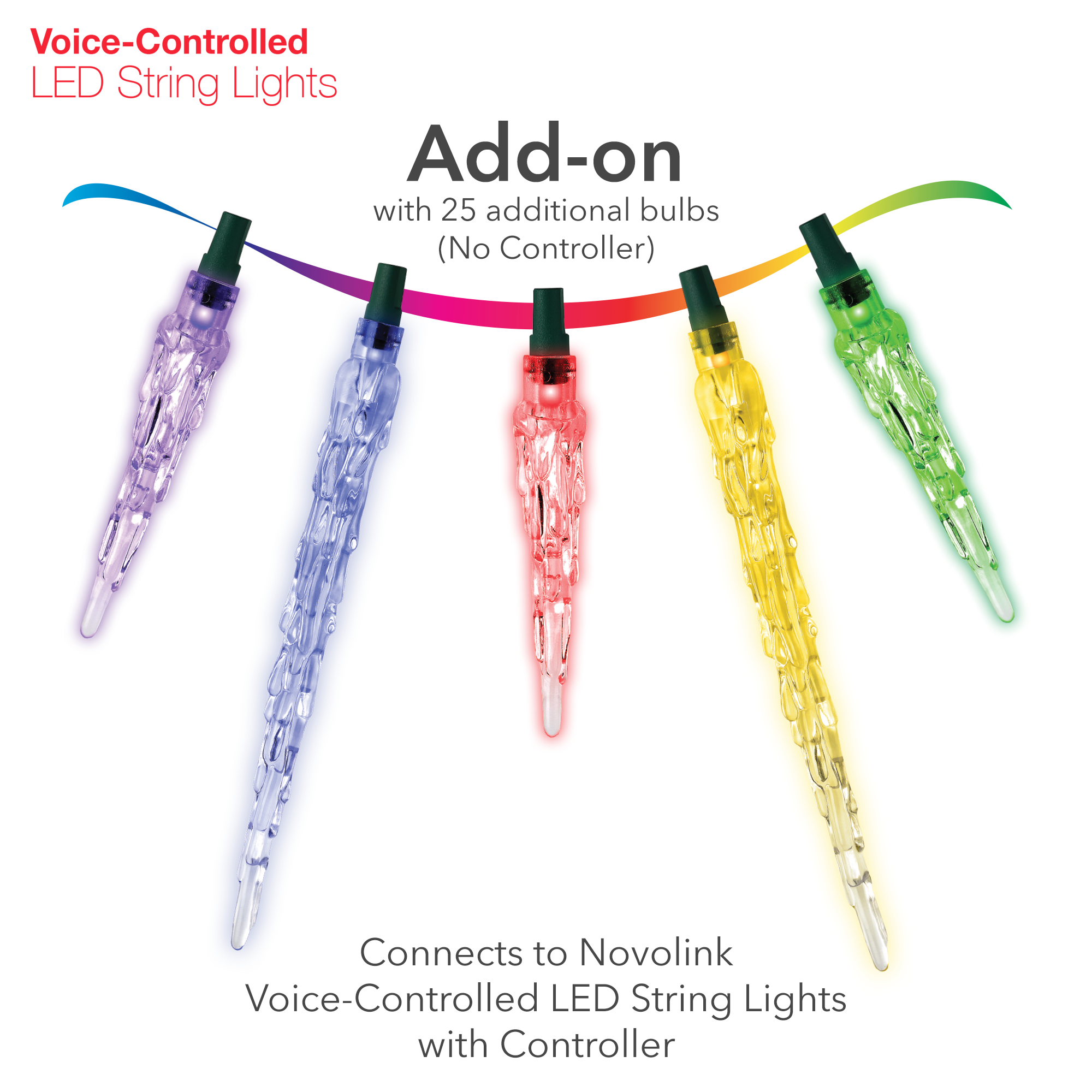 Voice-Controlled LED String Light Add-on, Icicle