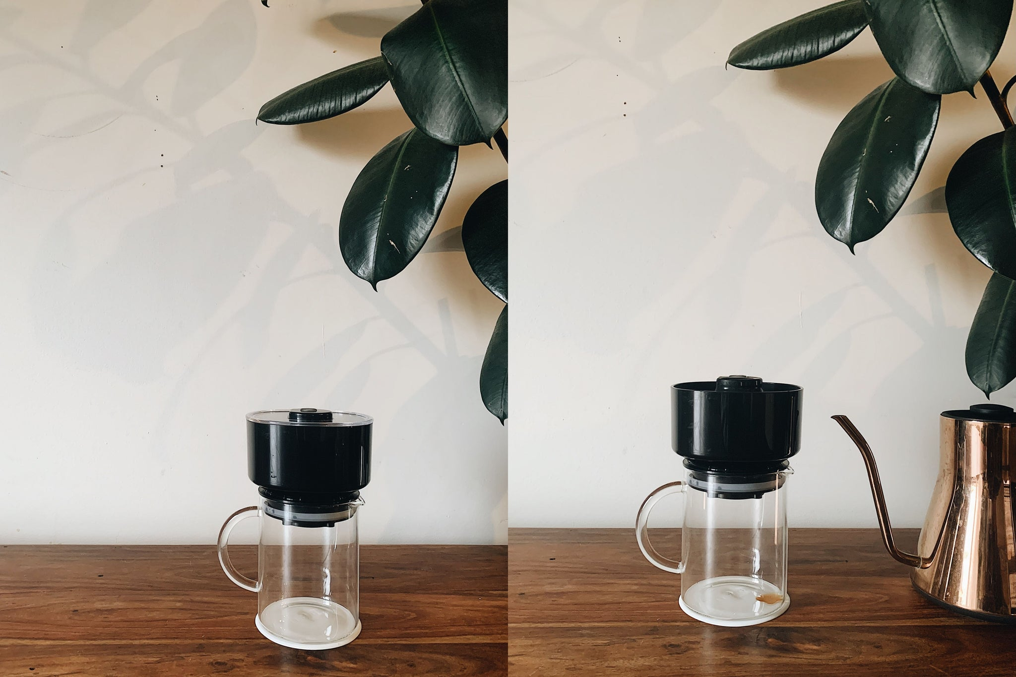 L: Empty VacOne with leaves in the background; R: VacOne next to copper Fellow Kettle with leaves in the background