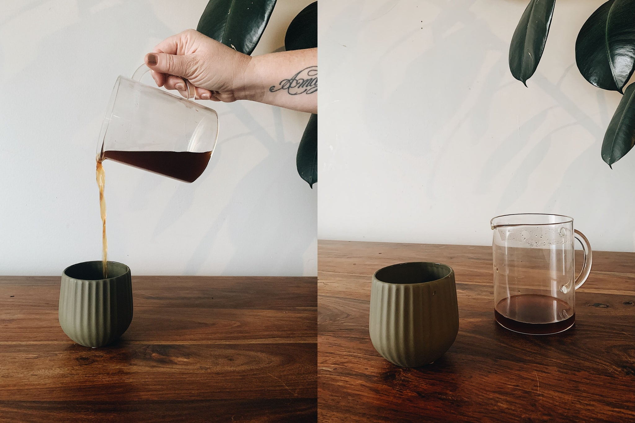 L: Pouring brewed coffee from VacOne carafe into grey cup; R: grey cup and VacOne carafe with coffee