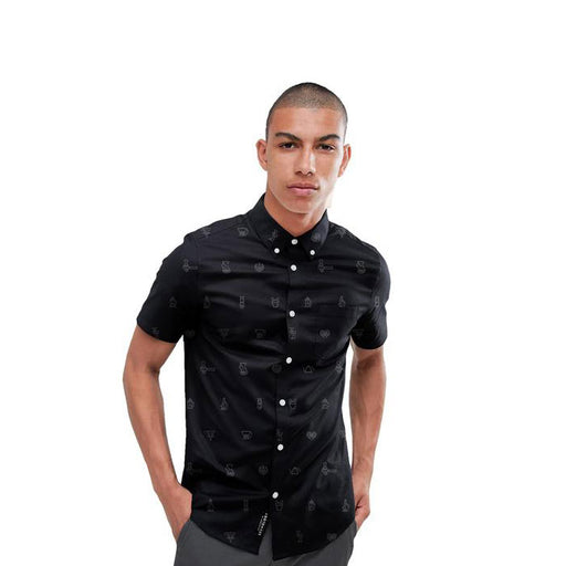 DOB Coffee Icons Button Down Shirt