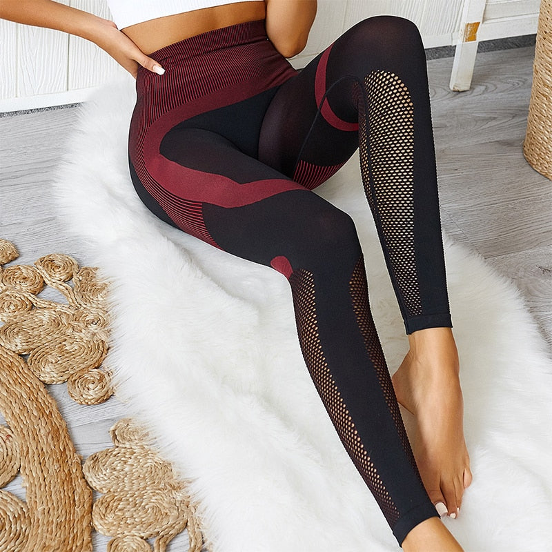 Mesh Stitching Fashion Fitness Casual Leggings