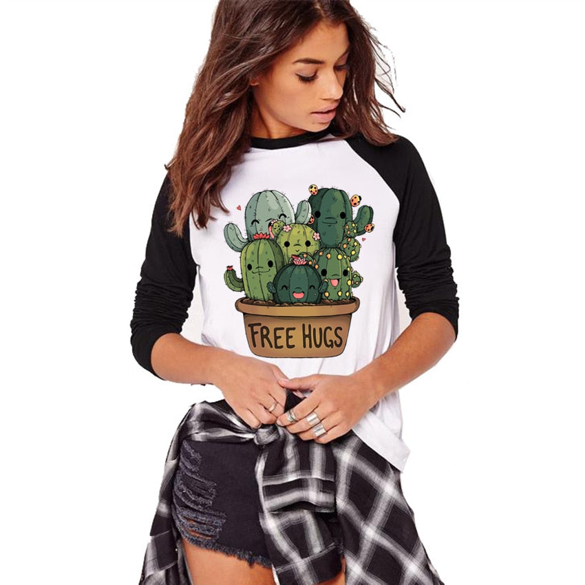 Cactus Free Hugs Design Raglan Sleeve Tee Shirt Female