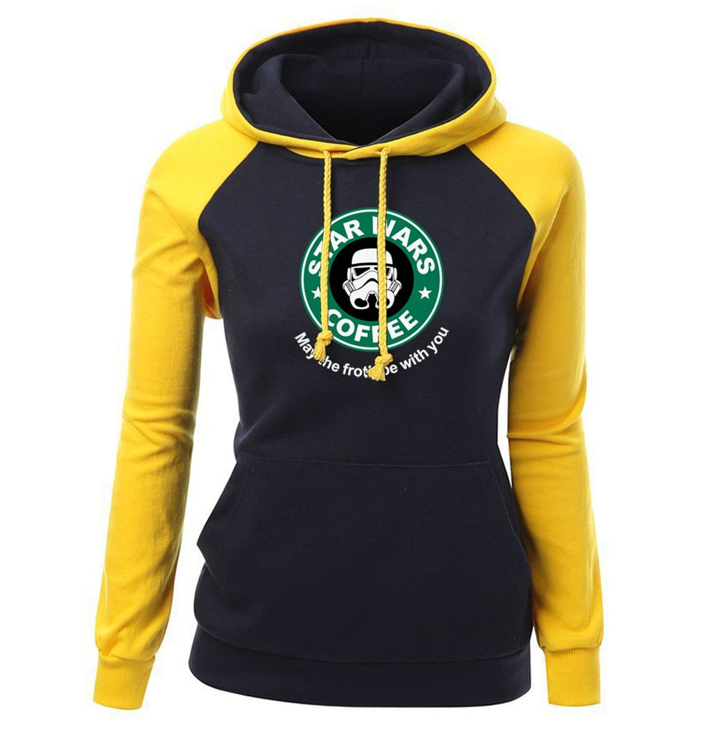Star Wars Coffe Raglan Fleece Pullover Hoodie