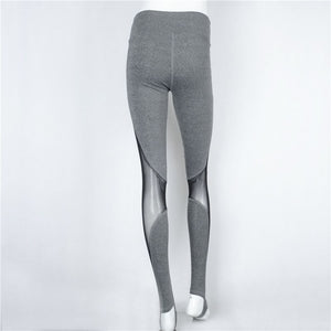 Black Gray Mesh Insert Stirrup Leggings