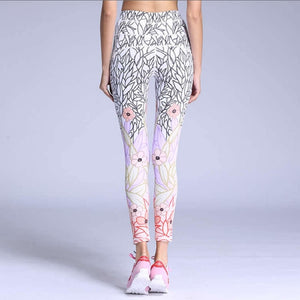 Pink Flowers Print Sporting Leggings Yoga Pants