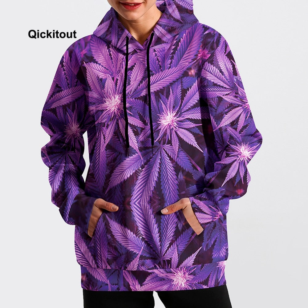 Leaves All Over Print Woman's Hoodie