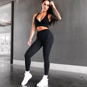Women's Yoga Fitness Top + Leggings - 2 Piece Set