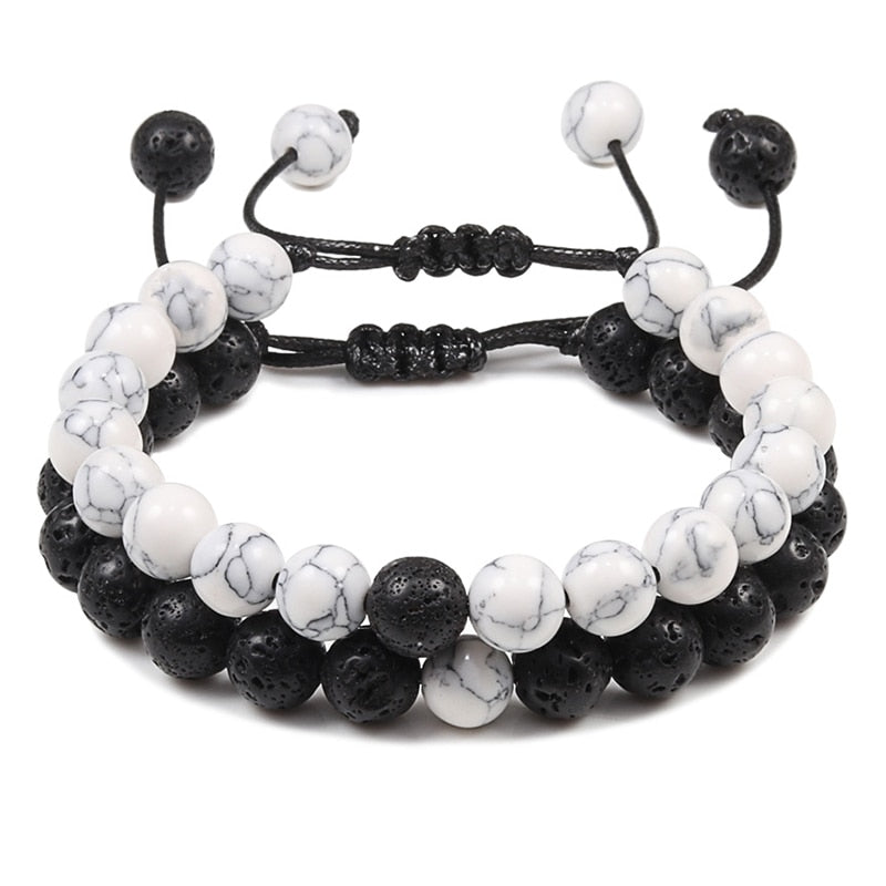 2PCS/Set Braided Bracelets Men Natural Stone YingYang Lava Bead Bracelet Yoga Bangles Best Friend Jewelry Couple Gift Set Unisex