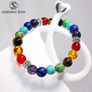 7 Chakra Fashion Healing Beaded Bracelet Natural Lava Stone Tiger Eye Beads Bracelet 8MM For Women Men Yoga Jewelry