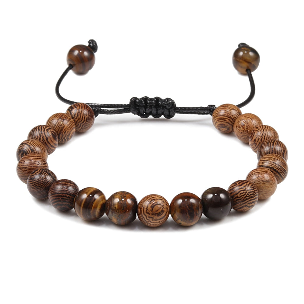 Adjustable Lava Stone Bracelet Men Tiger Eye Beads Braided Rope Bracelets Yoga Healing Bangle Wood Beads Bracelet Brand Jewelry