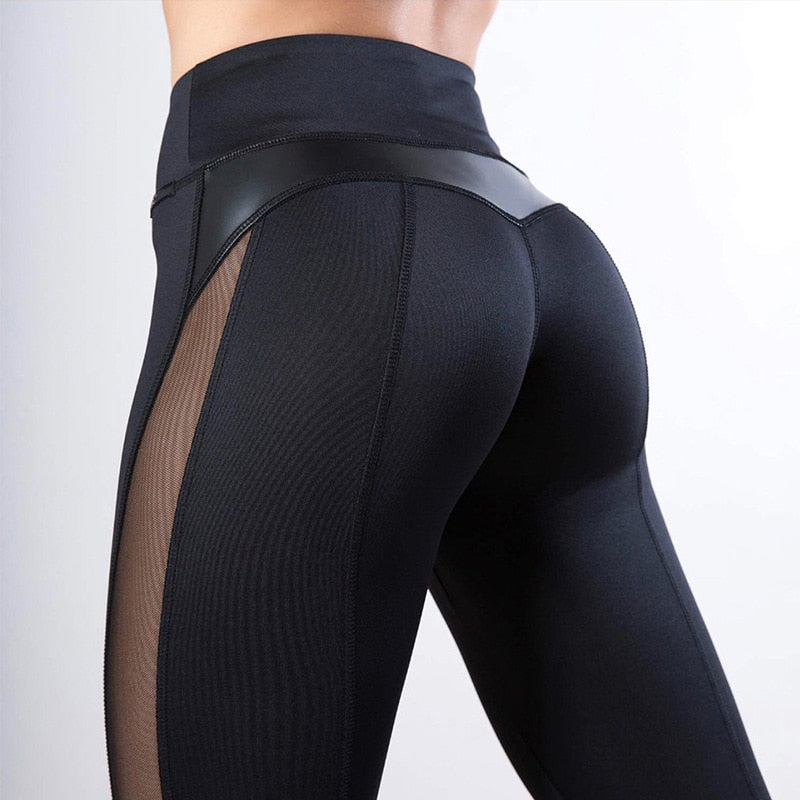 Black Fitness Heart Workout Mesh And PU Leather Patchwork Leggings