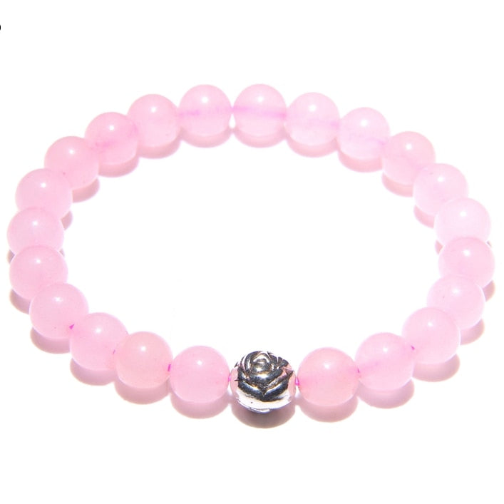 Charm Bracelets Women Natural Stone Beaded Bracelet for Women Girls Rose Quartzs Stone Bracelet Lucky Yoga Jewelry