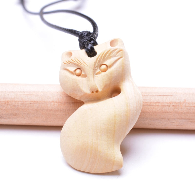 Cute Animal Necklace Pendant For Women Natural Wood