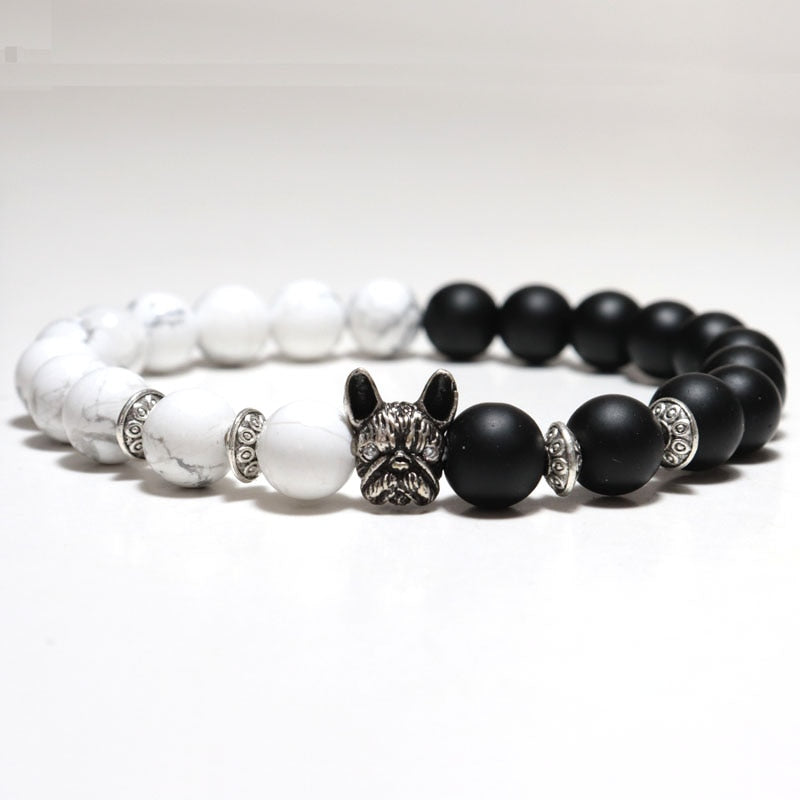 Cute French Bulldog Bracelet For Men Women 8mm Natural Stone Beaded Braslet For Dog Lovers Hand Accessories Yoga Jewelry Armband