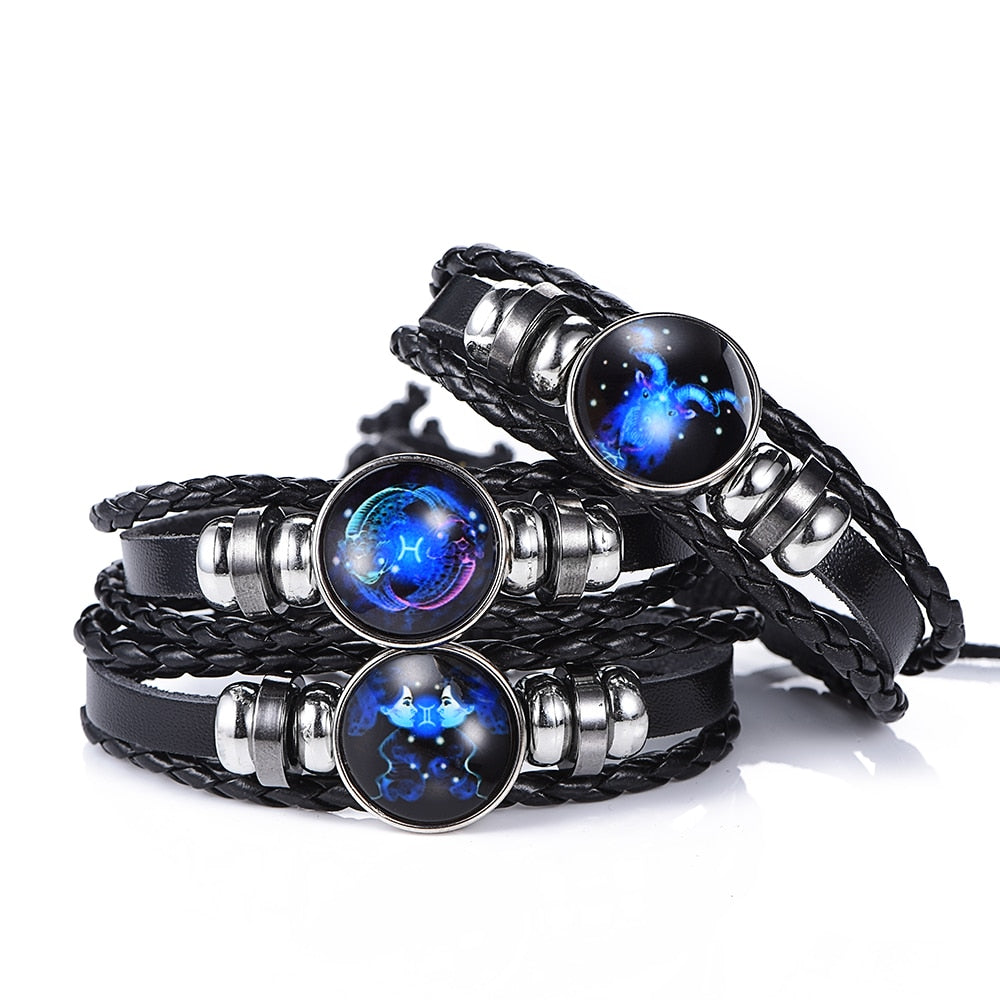 12 Constellation Luminous Leather Bracelet