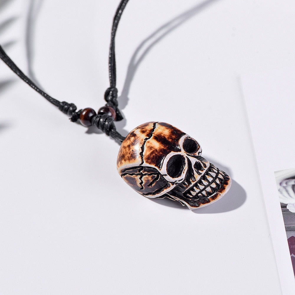 SEDmart Vintage Carve Skull Charms Pendants Necklace for Women Men Handmade Personality Adjustable Rope Chain Wood Beads Jewelry