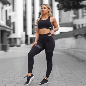 NADANBAO Fashion Fitness Sets Women Sporting Leggings Sexy Workout Tops Sportwear Outside Legging Hollow Out Female Top