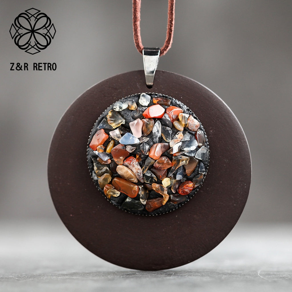 Vintage Necklaces With Colorful Stone for Women Wooden Pendants Statement Necklaces Sweater Rope Chain Fashion Jewelry Wholesale