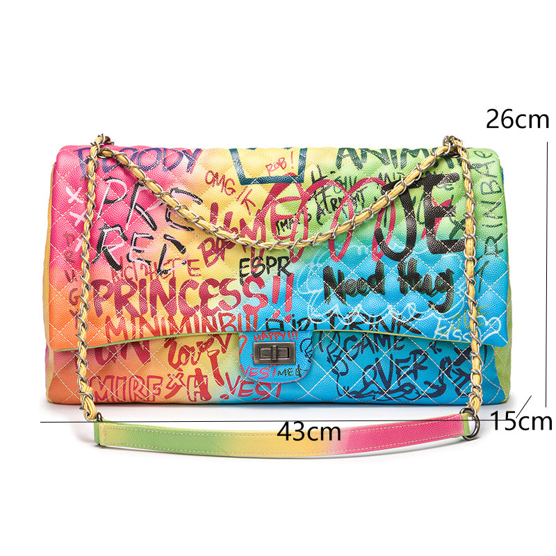 Amberler Luxury Designer PU Leather Women Shoulder Bag Large Capacity Ladies Chain Printed Crossbody Bags Fashion Female Handbag