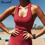 Hecatal Yoga Set Women's Knit Seamless High Waist Yoga Exercise Fitness Set Gym Clothing Women Sport Sets Ropa Deportiva Mujer