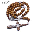 Round Saint Benedict Medal Antique Wooden Rosary Necklaces Cross Pendant for Women Men Religious Jesus Jewelry Mother Gifts
