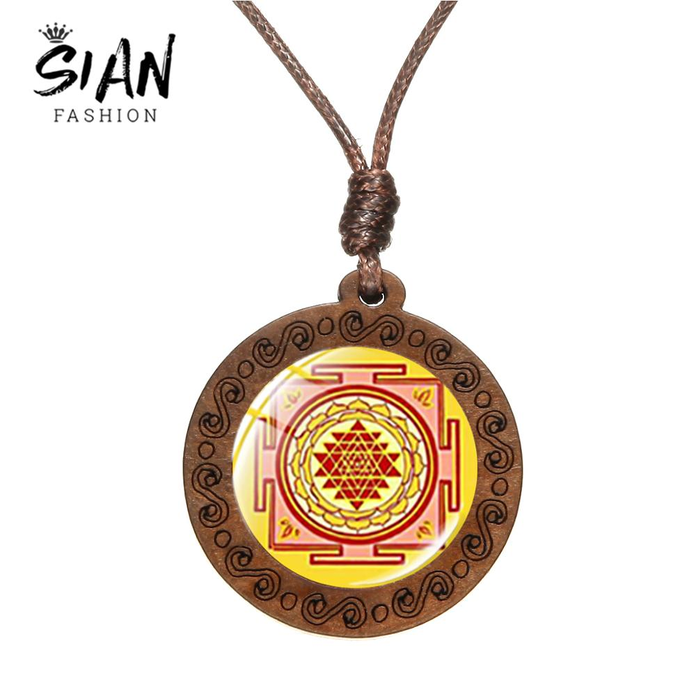 SIAN Newest Fashion Sri Yantra Pendant Necklace Sacred Geometry Buddhist Art Mandala Flower Glass Dome Wooden Jewelry Handcraft