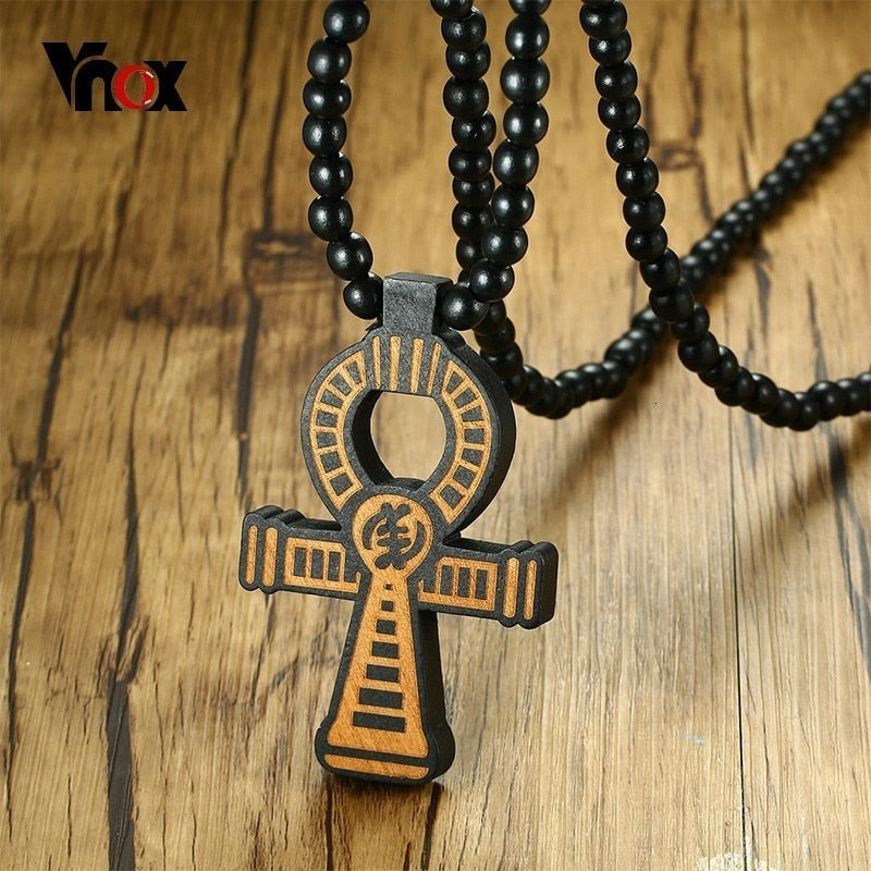 "Vnox Wood Anka Cross Pendant for Men Long Necklace 35"" Rosary Wooden Beaded Chain Prayer Male Faith Jewelry Casual"