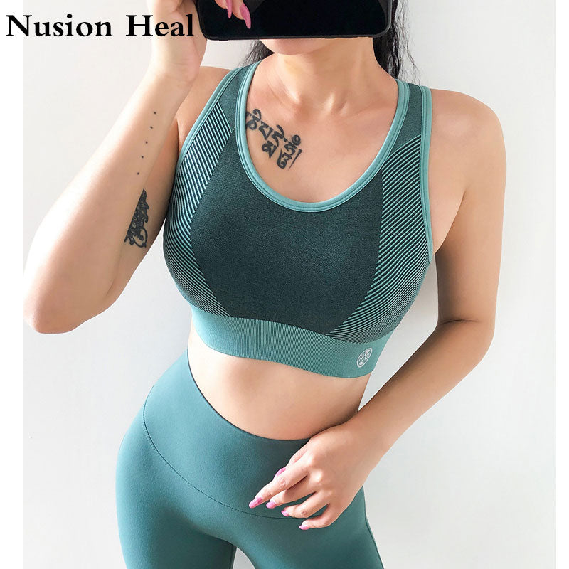 2020 Seamless Top Gym Crop Top Bra Padded Push Up Bra Sports Bra Wear for Women Gym Workout Bra Active Wear Yoga Tops Clothes