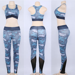 Women Yoga Set Tracksuit Fitness Set Pink Camouflage Gym Wear Running Clothing Sportswear Sport Suit Tank Top Mesh Legging,ZF267