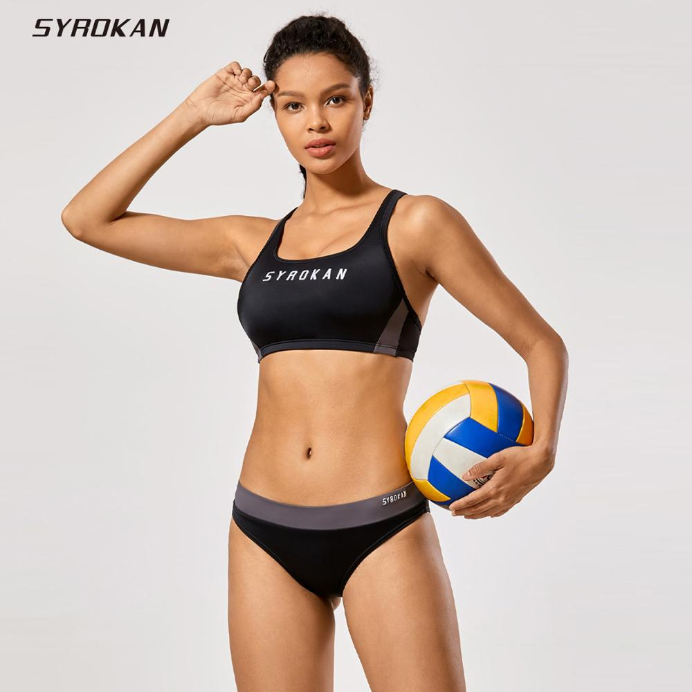 SYROKAN Women's Workout Bikini Set Athletic Swimsuits Two Pieces Bathing Suit