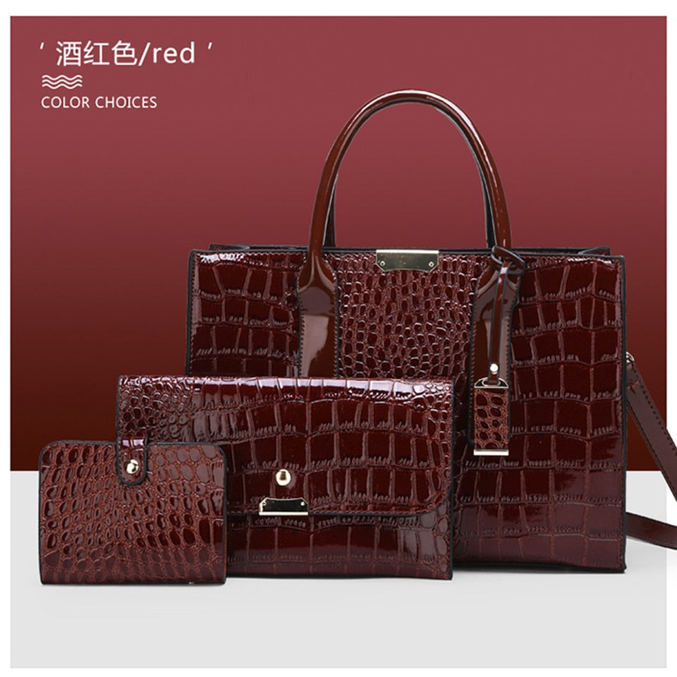 Alligator Women Bag Leather Handbags Set Crossbody Bags For Women Brand Desginer Shoulder Messenger Bag Fashion Ladies Bag Totes