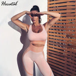 HECATAL Sportswear Fitness Tight Women's Tracksuits Sport Set Yoga Sets Clothes Gym Clothes Open Back Slim Fit Yoga Fitness Set