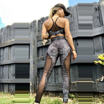 Black Dark Web Spider Leggings Mesh High Waist Fitness Women Leggings