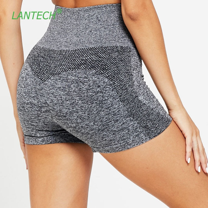 LANTECH Women Yoga Shorts Sports Running Sportswear Fitness Seamless Workout Athletic Exercise Gym Compression High Waist Shorts