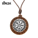 SONGDA Vegvisir Viking Compass Necklace for Mens Glass Cabochon Wooden Pendant Ancient Trinity Nordic Runes Odin Symbol Jewelry