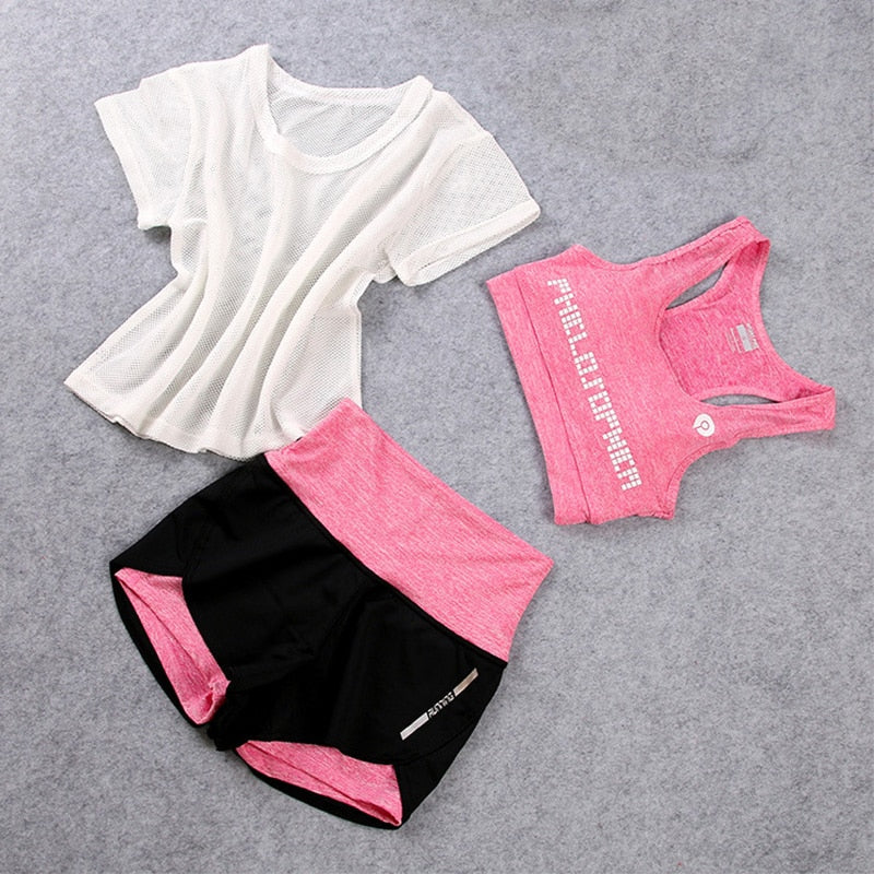 3PCS Set Women's Yoga Suit Fitness Sets Clothing Sportswear for Female Workout Sports Clothes Athletic Running Jumpsuit,ZF155