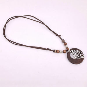 Antique Vintage Long Rope Chain Necklace Wooden antique bronze Alloy leaf Pendants Neckless Cord Jewelry Accessories