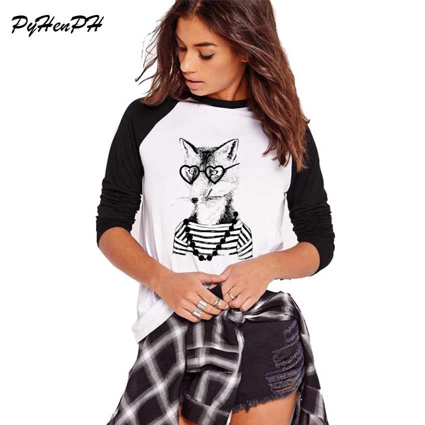 Hipster Fox / Dog / Badger T Shirt Full Sleeve Women T-shirt Novelty Raglan Loose Tees Casual Shirts